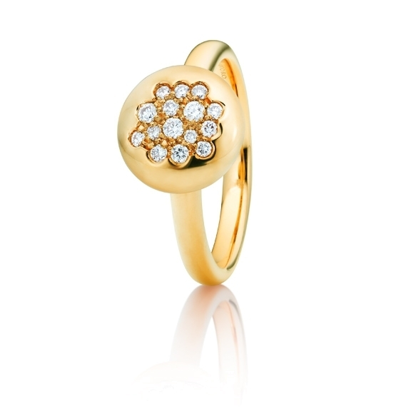 "Ring ""Dolcini"" 750GG, 15 Diamanten Brillant-Schliff 0.20ct TW/vs"