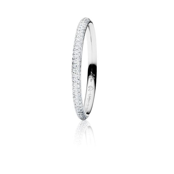 "Ring ""Diamante in Amore"" 750WG Pavé, 106 Diamanten Brillant-Schliff 0.20ct TW/vs1, 1 Diamant Brillant-Schliff 0.005ct TW/vs1"