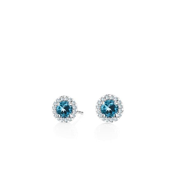 "Ohrstecker ""Espressivo"" 750WG Topas London blue facettiert Ø 4.0 mm ca. 0.50ct, 32 Diamanten Brillant-Schliff 0.08ct TW/si1"