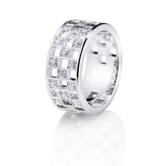 "Ring ""Piazza"" 750WG, 23 Diamanten Brillant-Schliff 0.70ct TW/si"