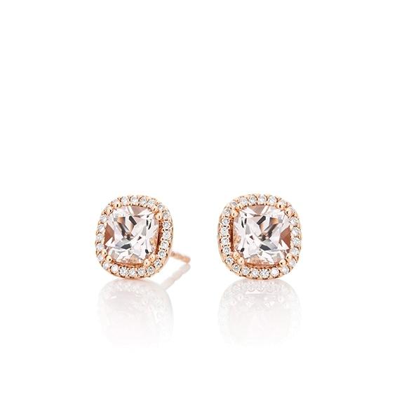 "Ohrstecker ""Espressivo"" 750RG, Morganit antik 6.0 x 6.0 mm ca. 1.80ct, 48 Diamanten Brillant-Schliff 0.14ct TW/si"