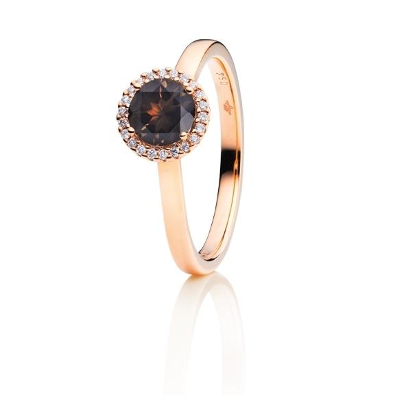 "Ring ""Espressivo"" 750RG, Rauchquarz facettiert Ø 6.0 mm, 22 Diamanten Brillant-Schliff 0.06ct TW/si"