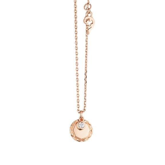 """Collier """"Poesia"""" 750RG, mit einem personalisierbaren runden Tag und einem beweglichen Diamant in Zargenfassung 0.025TW/vs1, Ankerkette Ø 1.3 mm, Länge 41.0 cm, Zwischenöse bei 38.0 cm"""