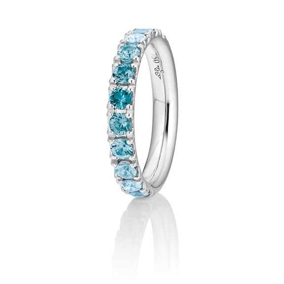 """Ring """"Rainbow"""" 750WG, 11 Saphire blau ca. 1.50ct, 1 Diamant Brillant-Schliff 0.005ct TW/vs1"""