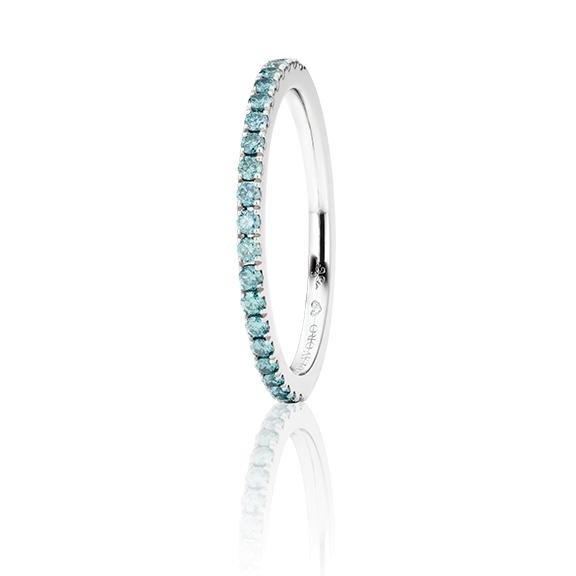 """Memoirering """"Diamante in Amore"""" 750WG, 21 Diamanten Brillant-Schliff 0.26ct sky blue beh., 1 Diamant Brillant-Schliff 0.005ct TW/vs1"""