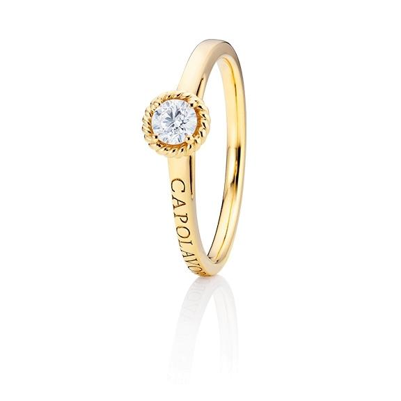 "Ring ""Amore Mio"" 750GG, 1 Diamant Brillant-Schliff 0.25ct TW/si, 1 Diamant Brillant-Schliff 0.005ct TW/vs1"
