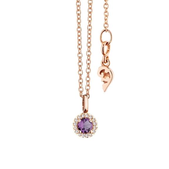 """Collier """"Espressivo"""" 750RG Amethyst mittel rund fac. Ø 4.0 mm, 16 Diamanten Brillant-Schliff 0.04ct F/si, Länge 45.0 cm Zwischenöse bei 42.0 cm"""