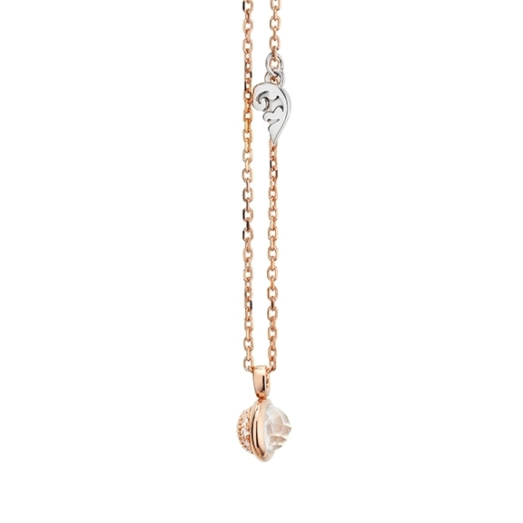 """Collier """"Velluto """" 750RG, 1 Topas weiss facettiert, 19 Diamanten Brillant-Schliff 0.05ct TW/vs1, Länge 42.0 cm plus 3.0 cm Verlängerung"""