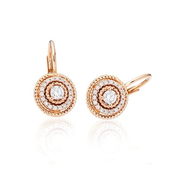 """Ohrhänger """"Amore mio"""" 750RG, 30 Diamanten Brillant-Schliff 0.20ct TW/si"""