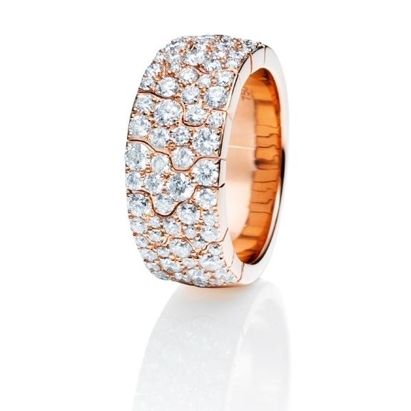 "Ring ""Vulcano"" 750RG, 70 Diamanten Brillant-Schliff 1.80ct TW/vs"