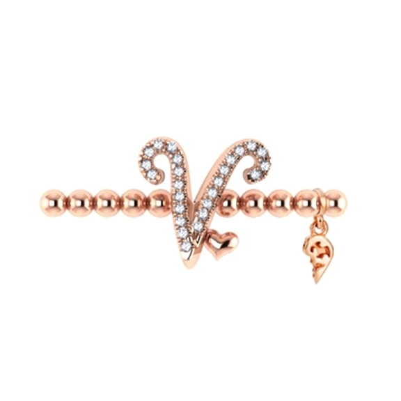 "Armband ""Poesia"" 750RG, Buchstabe ""V"", 25 Diamanten Brillant-Schliff 0.09ct TW/vs1, Innenumfang 17.0 cm"