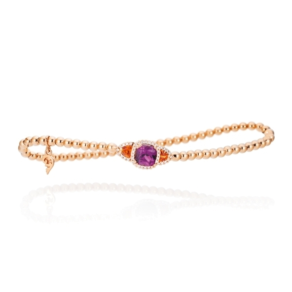 "Armband ""Espressivo"" 750RG, Granat Royal Purple 6.0 x 6.0 mm ca. 1.0ct, Granat Mandarin Trillion 3.5 x 3.5 mm ca. 0.30ct, 42 Diamanten Brillant-Schliff 0.16ct TW/si, Innenumfang 17.0 cm"
