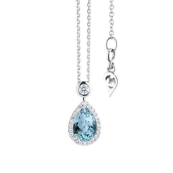 """Collier """"Espressivo"""" 750WG Topas sky blue Tropfen 9.0 x 6.0 mm ca. 1.65ct, 26 Diamanten Brillant-Schliff 0.20ct TW/si, Länge 45.0 cm Zwischenöse bei 42.0 cm"""