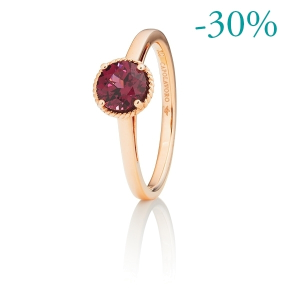 "Ring ""Amore mio"" 750RG, Rhodolith facettiert Ø 6.0 mm ca. 1.00ct"