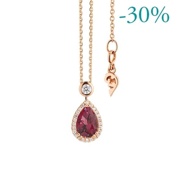 """Collier """"Espressivo"""" 750RG Rhodolith pink Tropfen 9.0 x 6.0 mm ca. 1.50ct, 26 Diamanten Brillant-Schliff 0.20ct TW/si, Länge 45.0 cm Zwischenöse bei 42.0 cm"""