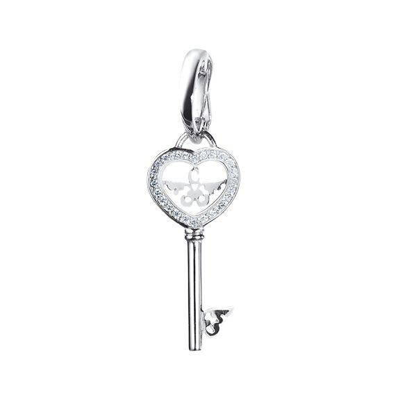 Anhänger Schlüssel 750WG 24 Diamanten Brillant-Schliff 0.09ct TW/si, Clip, 25.0 mm