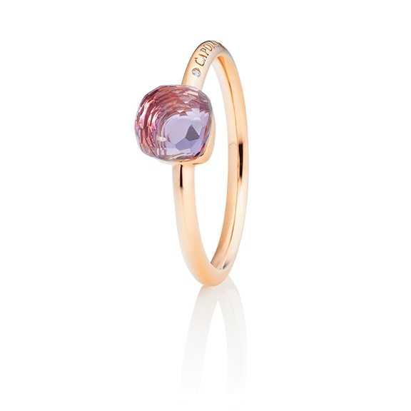 "Ring ""Happy Holi"" 750RG, Amethyst pink Cabochon  6.0 x 6.0 mm facettiert ca. 1.30ct, 1 Diamant Brillant-Schliff 0.004ct TW/vs1"