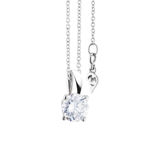 """Collier """"Diamante in Amore"""" 750WG 4-er Krappe, Schlaufe, 1 Diamant Brillant-Schliff 0.70ct TW/vs1 GIA Zertifikat, Länge 45.0 cm, Zwischenöse bei 42.0 cm"""