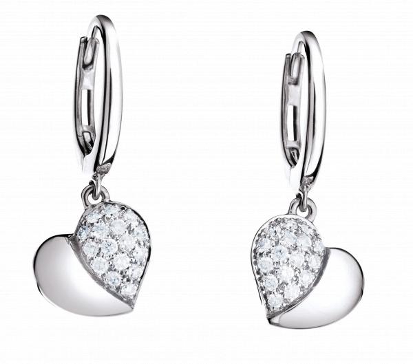 """Ohrhänger """"Fiori e Cuori"""" 750WG, 32 Diamanten Brillant-Schliff 0.35ct TW/vs"""