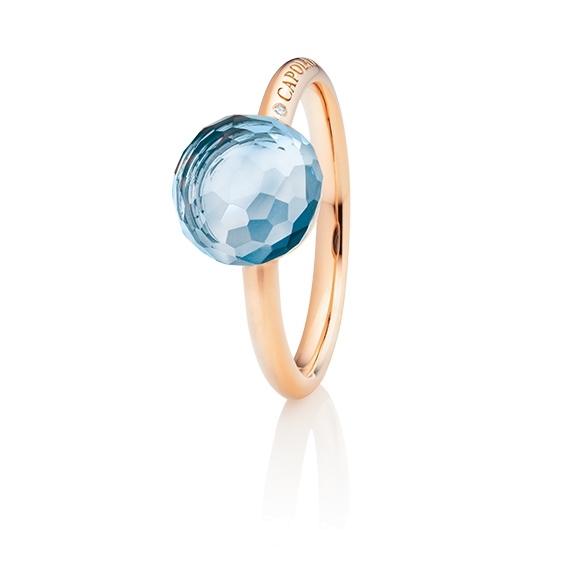 "Ring ""Happy Holi"" 750RG, Topas sky blue Cabochon Ø 9.0 mm facettiert ca. 5.00ct, 1 Diamant Brillant-Schliff 0.004ct TW/vs1"