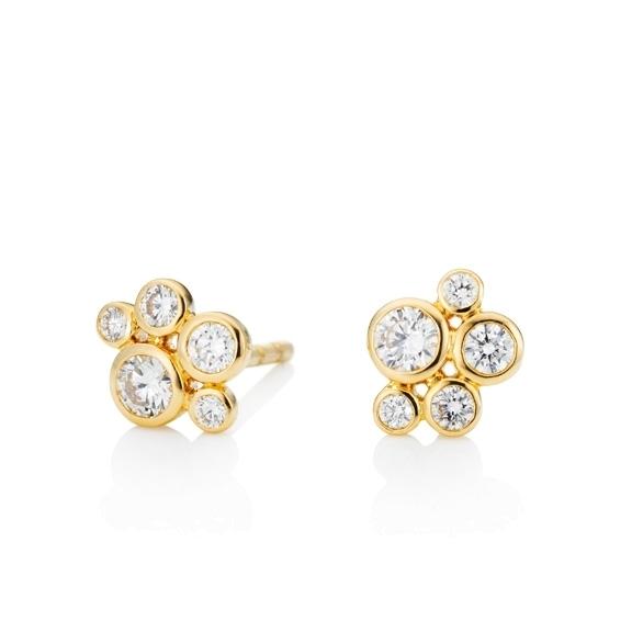 "Ohrstecker ""Prosecco"" 750GG, 10 Diamanten Brillant-Schliff 0.36ct TW/vs"