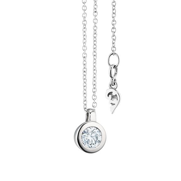 """Collier """"Diamante in Amore"""" 750WG Zargenfassung, Schlaufe, 1 Diamant Brillant-Schliff 0.30ct TW/vs1, Länge 45.0 cm, Zwischenöse bei 42.0 cm"""