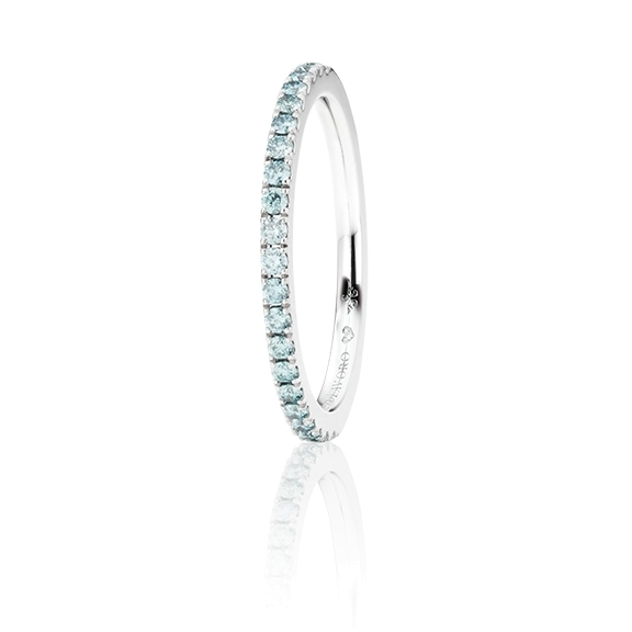 "Memoirering ""Diamante in Amore"" 750WG, 21 Diamanten Brillant-Schliff 0.26ct ice blue beh., 1 Diamant Brillant-Schliff 0.005ct TW/vs1"