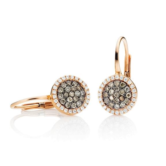 """Ohrhänger """"Dolcini"""" 750RG, 38 Diamanten Brillant-Schliff 0.29ct natural light brown, 48 Diamanten Brillant-Schliff 0.15ct TW/vs"""