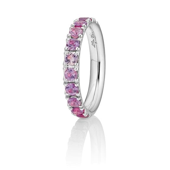 "Ring ""Rainbow"" 750WG, 11 Saphire pink facettiert ca. 1.50ct"