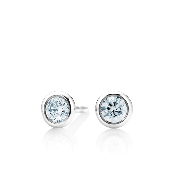 """Ohrstecker """"Classico"""" 750WG Zargenfassung, 2 Diamanten Brillant-Schliff 0.60ct TW/si GIA Zertifikat"""