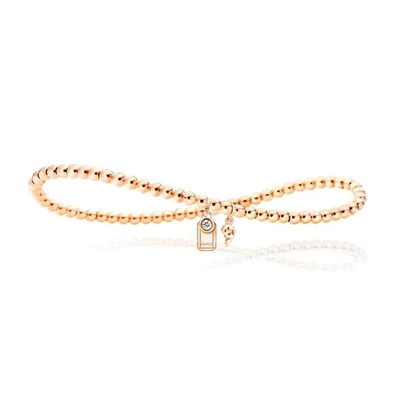 "Armband ""Poesia"" flexibel 750RG, mit personalisierbaren rechteckigen Tag, 1 Diamanten Brillant-Schliff 0.025ct TW/vs1, Innenumfang 17.0 cm"