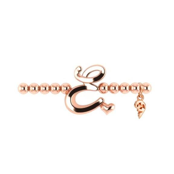 "Armband ""Poesia"" 750RG, Buchstabe ""E"", Innenumfang 17.0 cm"