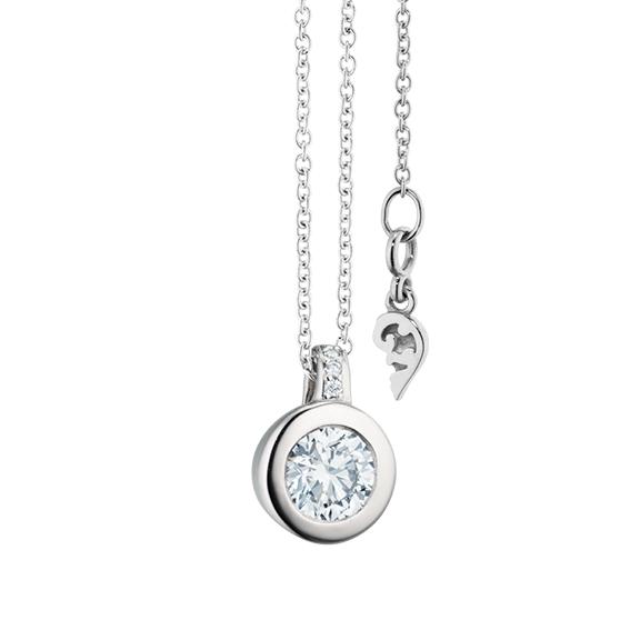"""Collier """"Diamante in Amore"""" 750WG Zargenfassung, Brillantöse, 1 Diamant Brillant-Schliff 0.50ct TW/vs1 GIA Zertifikat, 4 Diamanten Brillant-Schliff 4x 0.01ct TW/vs1,Länge 45.0cm Zwischenöse bei 42.0cm"""