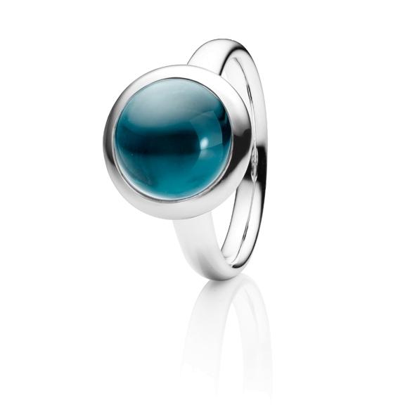 "Ring ""Velluto"" 750WG, Topas London blue Cabochon Ø 11.0 mm ca. 6.4ct"