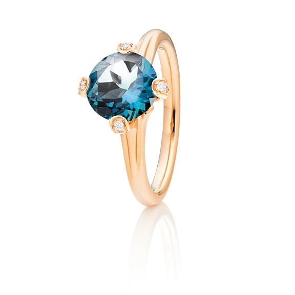 """Ring """"Capriccio"""" 750RG, Topas London blue Ø 8.0 mm ca. 2.60ct, 14 Diamanten Brillant-Schliff 0.07ct TW/vs"""
