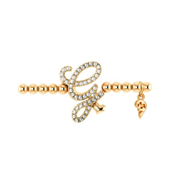 """Armband """"Poesia"""" 750GG, Buchstabe """"G"""", 45 Diamanten Brillant-Schliff 0.17ct TW/vs1, Innenumfang 17.0 cm"""