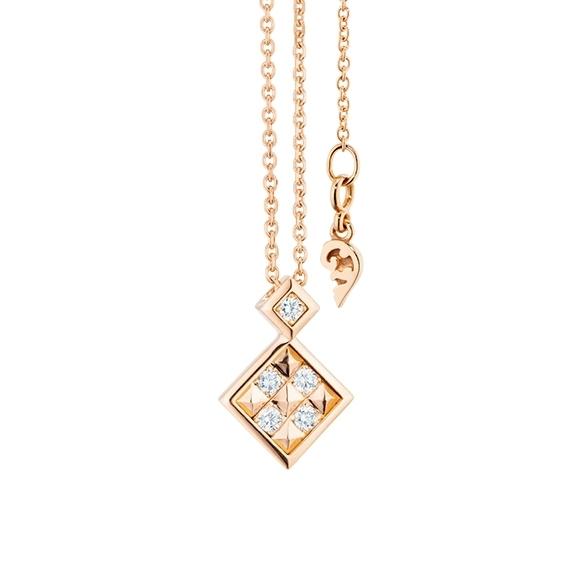 """Collier """"Manhattan"""" 750RG, 5 Diamanten Brillant-Schliff 0.11ct TW/vs1, Länge 45.0 cm, Zwischenöse bei 42.0 cm"""