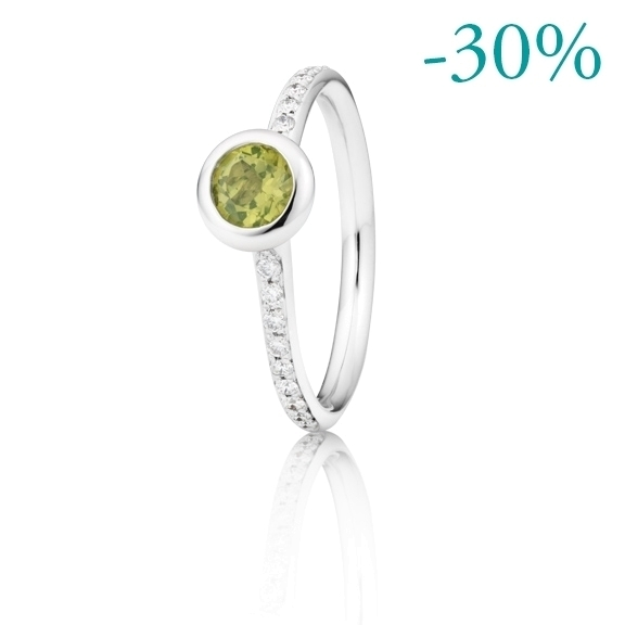 "Ring ""Piccolo Mondo"" 750WG, Peridot facettiert Ø 5.0 mm ca. 0.40ct, 18 Diamanten Brillant-Schliff 0.15ct TW/vs"