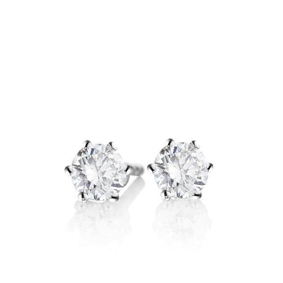 "Ohrstecker ""Diamante in Amore"" 750WG 6-er Krappe, 2 Diamanten Brillant-Schliff 0.80ct TW/vs1 GIA Zertifikat"