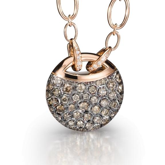 "Collier ""Fiore Magico"" 750RG, Carreaufassung schw. rhod., 50 Diamanten Brillant-Schliff 2.10ct light brown, 15 Diamanten Brillant-Schliff 0.09ct TW/vs, Länge 78.5 cm"