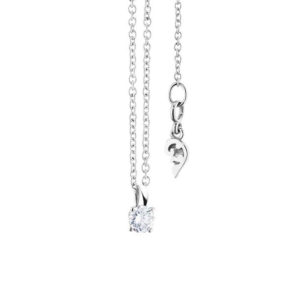 """Collier """"Diamante in Amore"""" 750WG 4-er Krappe, Schlaufe, 1 Diamant Brillant-Schliff 0.15ct TW/vs1, Länge 45.0 cm, Zwischenöse bei 42.0 cm"""