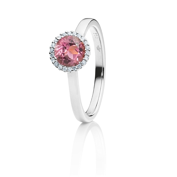 "Ring ""Espressivo"" 750WG, Turmalin pink dunkel facettiert Ø 6.0 mm ca. 0.84ct, 22 Diamanten Brillant-Schliff 0.06ct TW/si1"