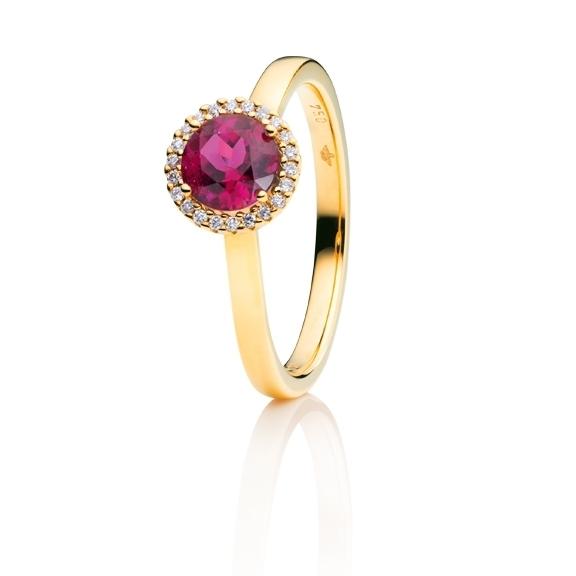 "Ring ""Espressivo"" 750GG, Rubelith facettiert Ø 6.0 mm, 22 Diamanten Brillant-Schliff 0.06ct TW/si"