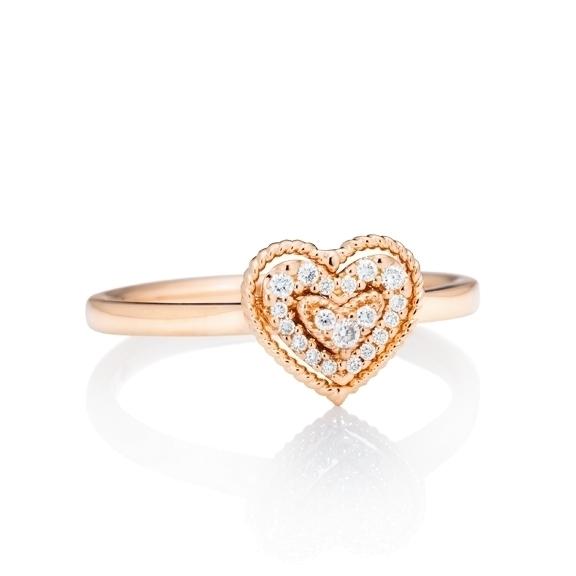 "Ring ""Valentine"" 750RG 19 Diamanten Brillant-Schliff 0.09ct TW/si"