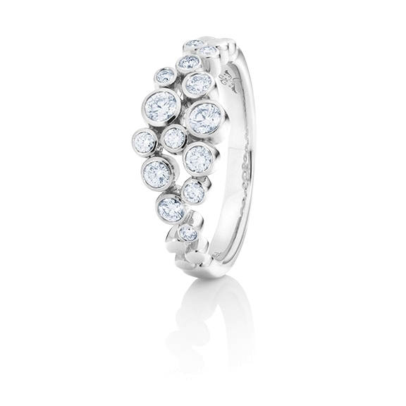 "Ring ""Prosecco"" 750WG, 14 Diamanten Brillant-Schliff 0.50ct TW/vs"