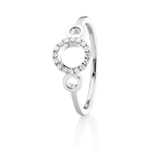 "Ring ""Rotondo"" 750WG, 16 Diamanten Brillant-Schliff 0.11ct TW/vs"