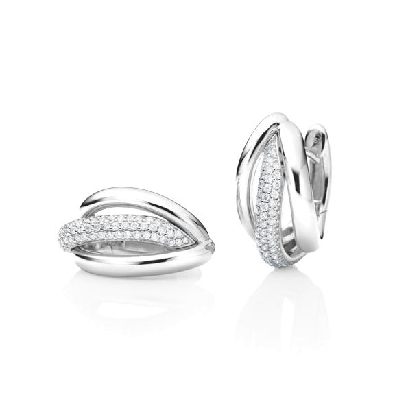 "Ohrcreolen ""Cielo"" 750WG, 118 Diamanten Brillant-Schliff 0.52ct TW/si"