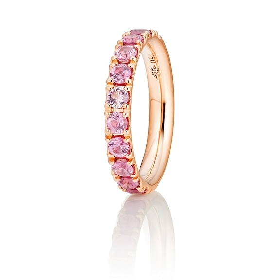 "Ring ""Rainbow"" 750RG, 11 Saphire pink ca. 1.50ct, 1 Diamant Brillant-Schliff 0.005ct TW/vs1"