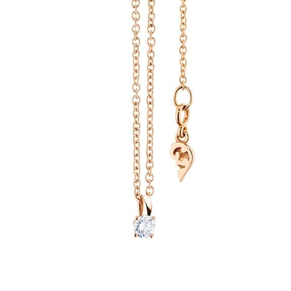 """Collier """"Diamante in Amore"""" 750RG 4-er Krappe, Schlaufe, 1 Diamant Brillant-Schliff 0.05ct TW/vs1, Länge 45.0 cm, Zwischenöse bei 42.0 cm"""