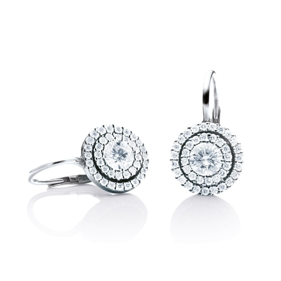 "Ohrhänger ""Brillantissimo 3"" 750WG, 2 Diamanten Brillant-Schliff 0.25ct TW/si, 78 Diamanten Brillant-Schliff 0.32ct TW/si"